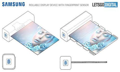 Rò rỉ sáng chế màn hình cuộn có cảm biến vân tay của Samsung