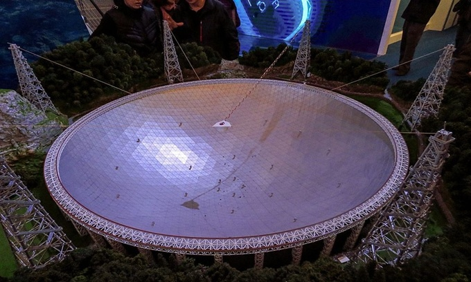 FAST là Kính viễn vọng hình cầu khẩu độ 500 mét được xây dựng tại huyện Bình Đường, tỉnh Quý Châu, phía tây nam Trung Quốc. Sau 5 năm thiết kế và xây dựng, FAST bắt đầu đi vào hoạt động từ năm 2016. FAST là kính viễn vọng vô tuyến lớn nhất thế giới hiện nay. Ảnh: Wikimedia.